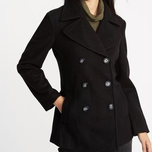 Jacket black old navy nice trench looking jacket